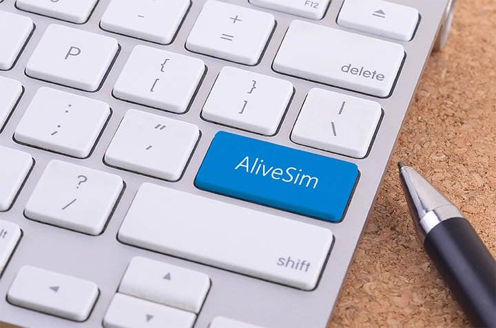 AliveSim button, illustrating an easy development process