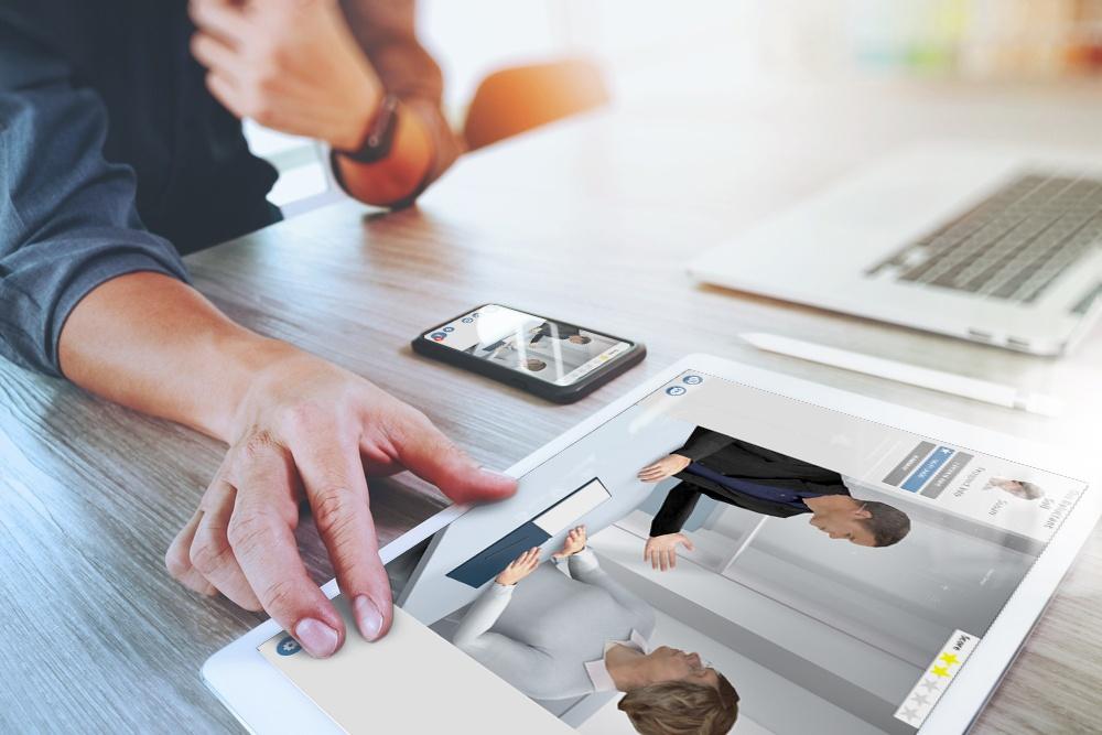 Using sales training simulation on tablet