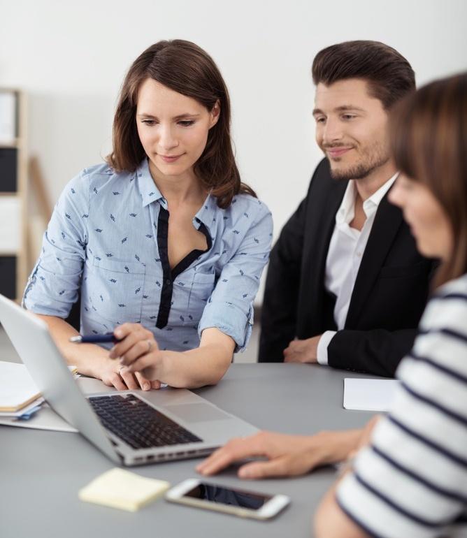 Meeting using laptop
