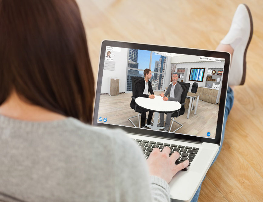 Woman using talent development simulation on laptop