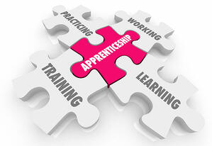 Apprenticeship puzzle piece linked to practicing, learning, training, and working