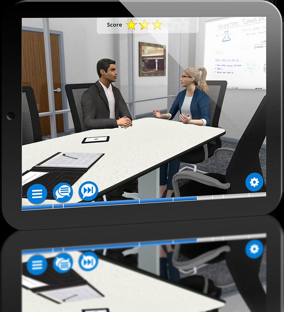 Sales training simulation on tablet